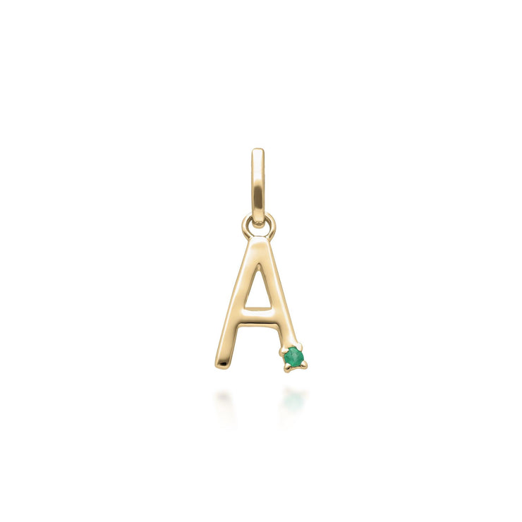 Initial A Emerald Letter Necklace in 9ct Yellow Gold