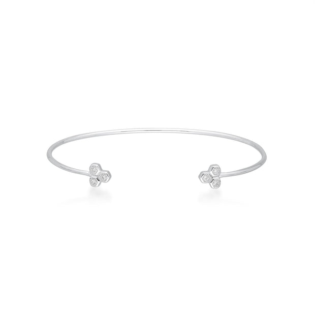 Diamond Trilogy Geometric Bangle in 9ct White Gold