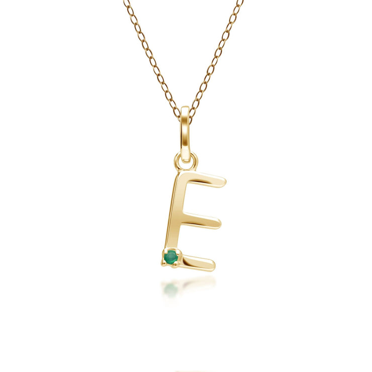 Initial E Emerald Letter Charm Necklace in 9ct Yellow Gold