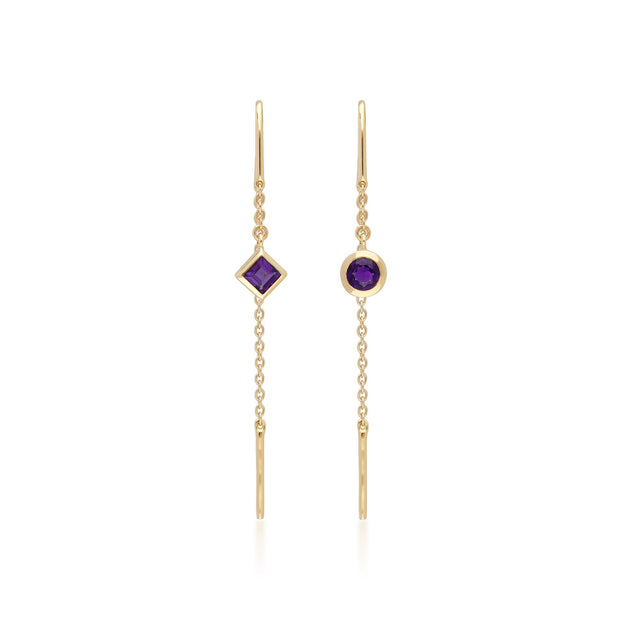 Micro Statement Amethyst Threader Earrings in 9ct Yellow Gold