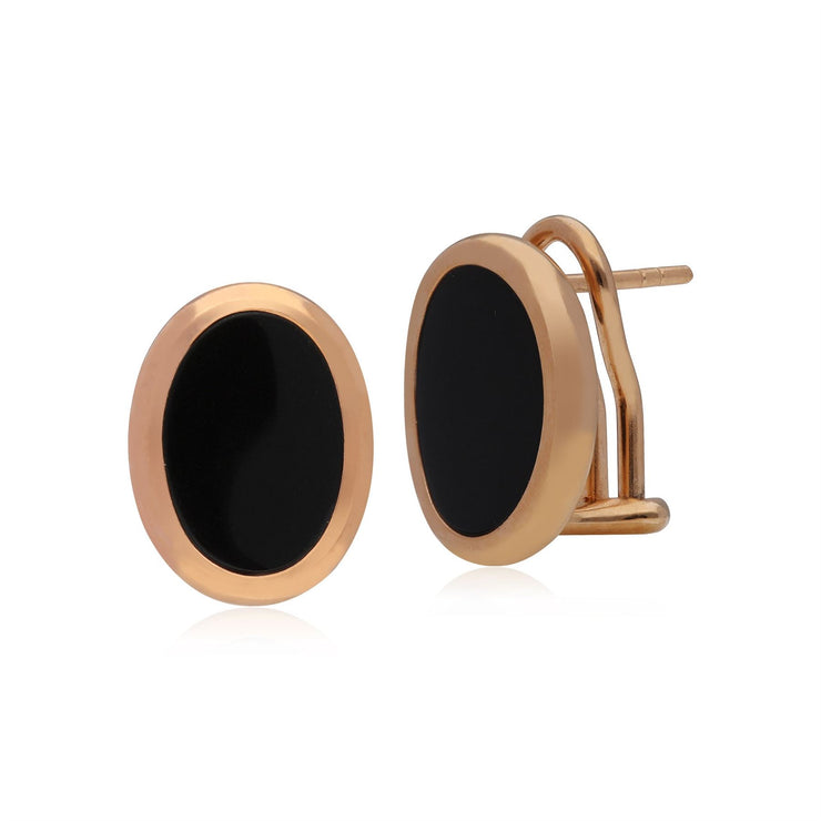 Kosmos Black Onyx Stud Earrings in Rose Gold Plated 925 Sterling Silver