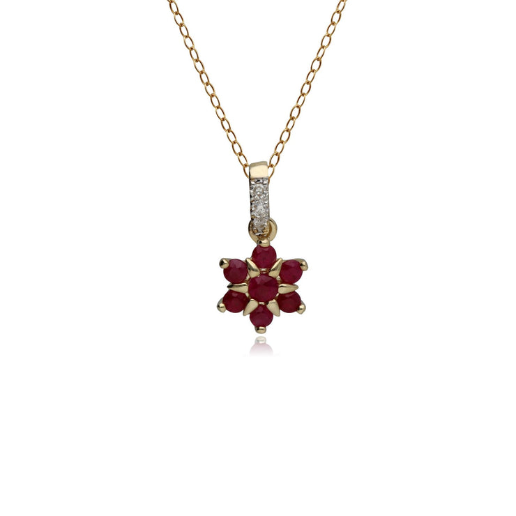 Classic Ruby & Diamond Flower Pendant in 9ct Yellow Gold