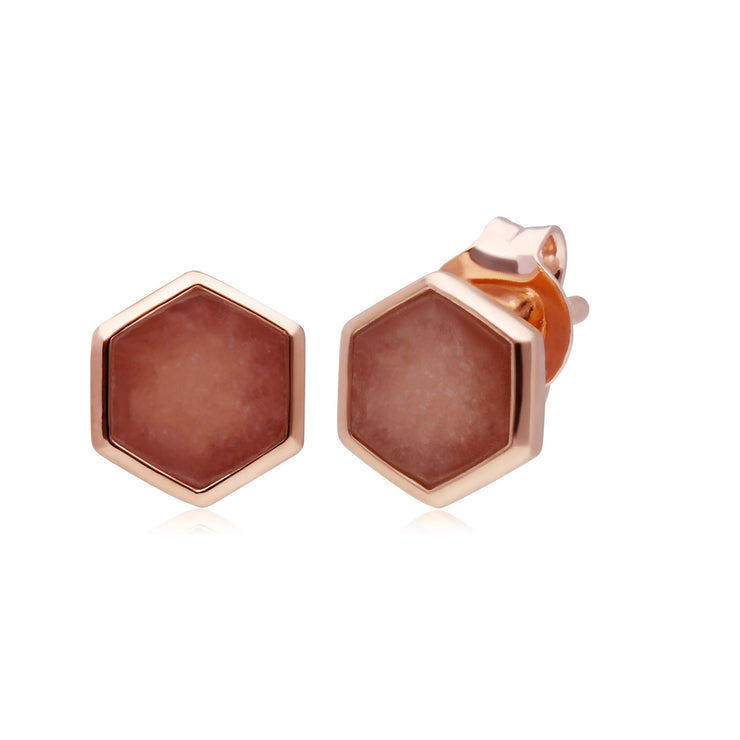Micro Statement Rhodochrosite Stud Earrings in Rose Gold Plated 925 Sterling Silver