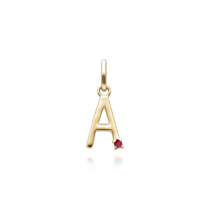 Initial A Ruby Letter Necklace in 9ct Yellow Gold