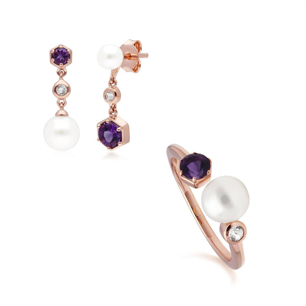 Modern Pearl, Amethyst & Topaz Earring & Ring Set in Rose Gold Plated Sterling Silver