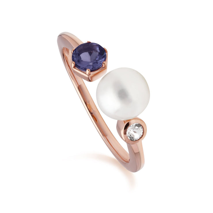 Modern Pearl, Tanzanite & Topaz Open Ring in Rose Gold Plated Sterling Silver