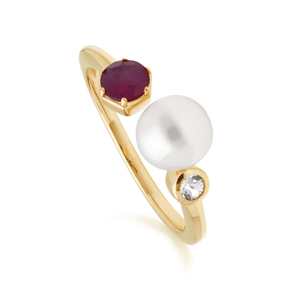 Modern Pearl, Ruby & Topaz Open Ring in Gold Plated Sterling Silver