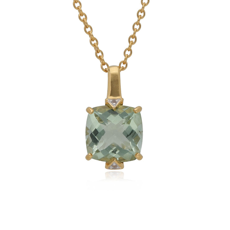 Kosmos Square Mint Quartz & Topaz Necklace in Gold Plated Sterling Silver