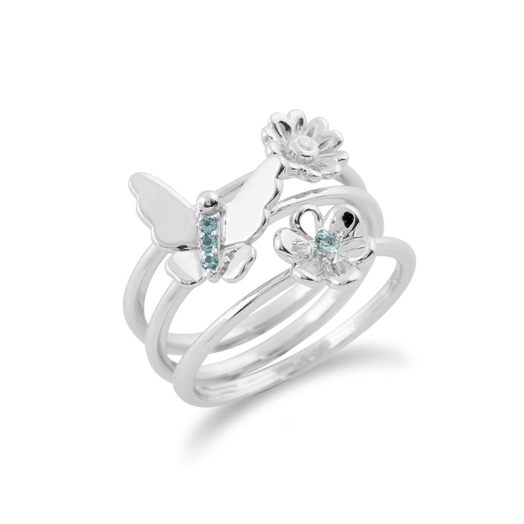 Floral Blue Topaz & Diamond Butterfly & Flowers Three Stack Ring Set Image 2