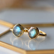 Irregular B Gem Labradorite & Diamond Ring in Gold Plated Sterling Silver