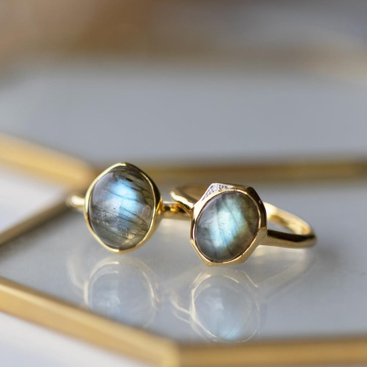 Irregular B Gem Labradorite Rings in Yellow Gold Plated Sterling Silver