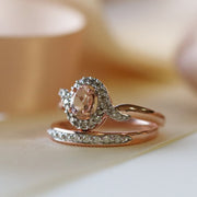 Classic Morganite & Diamond Twist Halo Ring in 9ct Rose Gold