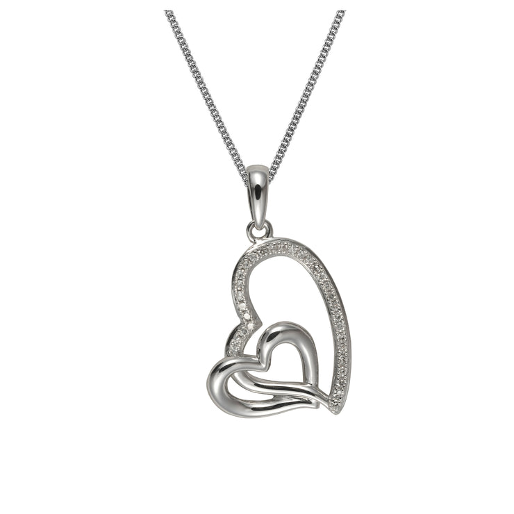 Contemporary Style Round Diamond Double Heart Pendant & Chain in 375 White Gold