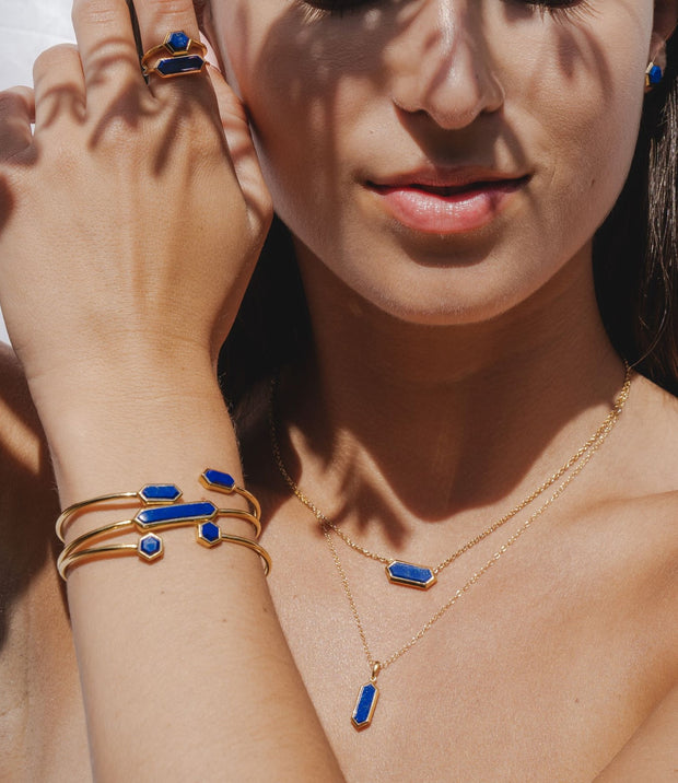 Geometric Lapis Lazuli Open Bangle in Gold Plated Sterling Silver