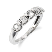 Classic Round Diamond Half Eternity Ring in 18ct White Gold