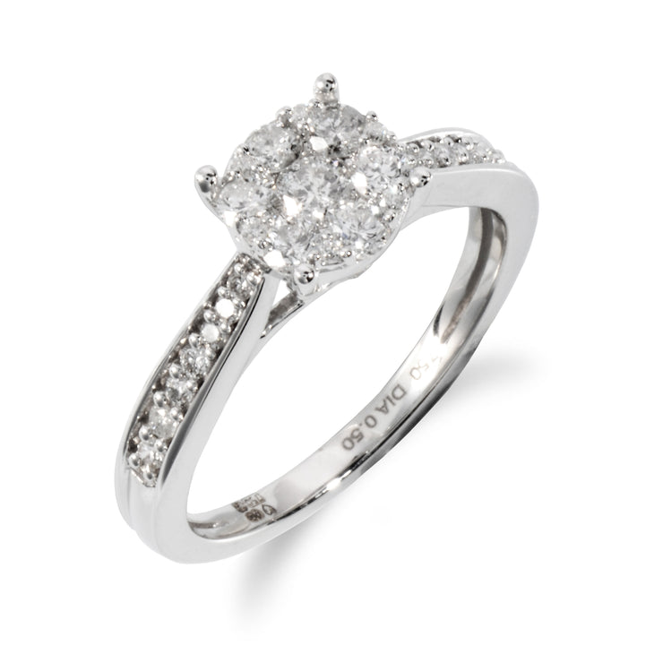 Classic Round Diamond Solitaire Ring in 18ct White Gold