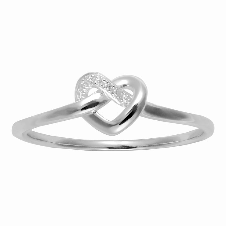 Classic Round Diamond Heart Knot Ring in 9ct White Gold