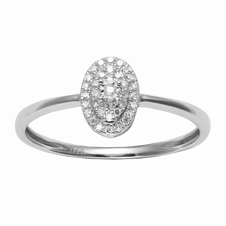 Classic Oval Diamond Cluster Ring in 9ct White Gold