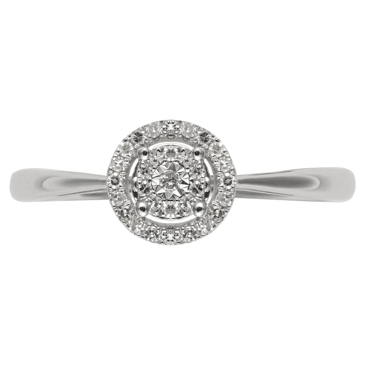 Classic Round Diamond Cluster Ring in 9ct White Gold