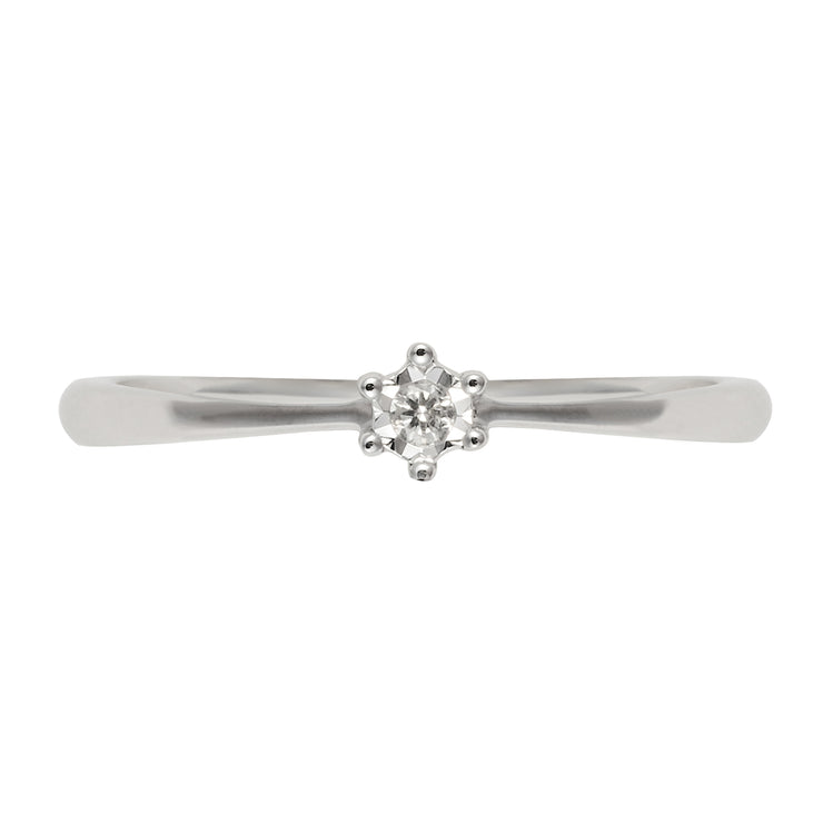 Classic Illusion Diamond Ring in 9ct White Gold