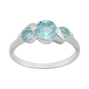 Classic Round Blue Topaz Three Stone Ring in 925 Sterling Silver