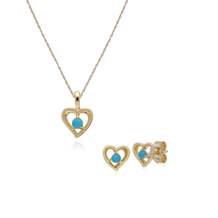 Classic Turquoise Heart Stud Earrings & Necklace Set Image 1