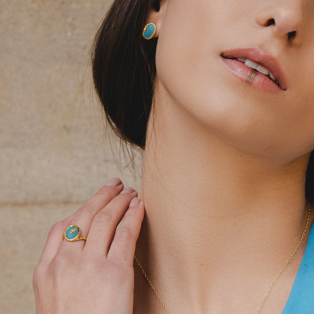 Gemondo ECFEW™ Turquoise Winding Snake Stud Earrings In Yellow Gold Plated Silver