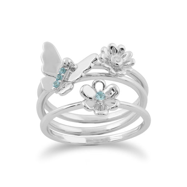 Floral Blue Topaz & Diamond Butterfly & Flowers Three Stack Ring Set Image 1
