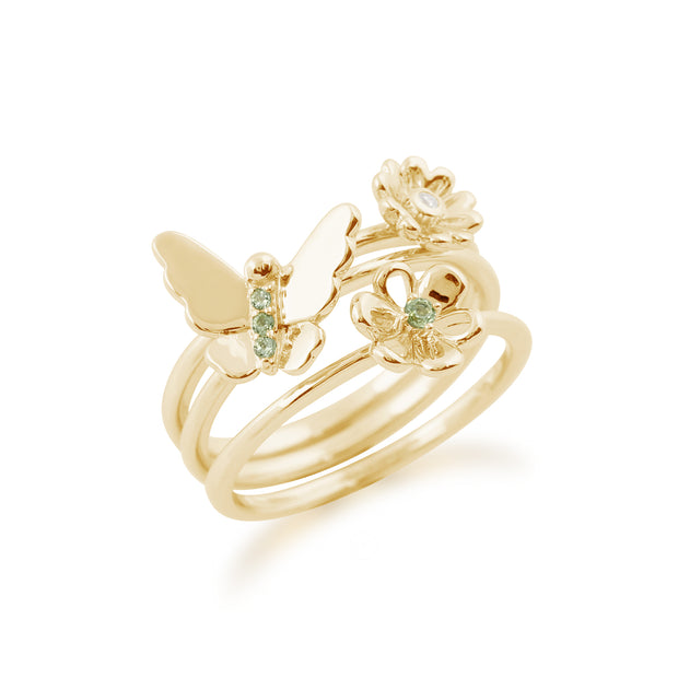 Floral Peridot & Diamond Butterfly & Flowers Three Stack Ring Set Image 2