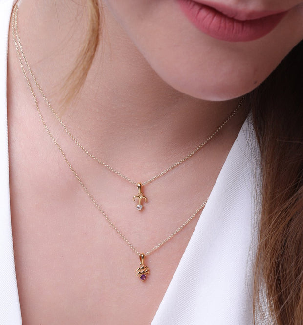 White Topaz Aries Zodiac Charm Necklace in 9ct Yellow Gold