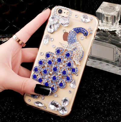 3D Bling Luxury Fundas Crystal Rhinestone Peacock Gem Diamond Soft Cover Case For Samsung S6 S7 EDGE S8 S9 PLUS NOTE4 N5 N8 N9