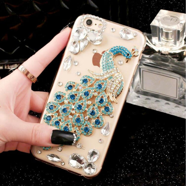 3D Bling Luxury Fundas Crystal Rhinestone Peacock Gem Diamond Soft Cover Case Skin For IphoneX XS MAX XR 5S 6 6S 7 8 PLUS Capa