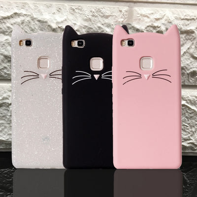 3D Cartoon Smile Cases Pink Cat Ears Beard Soft Silicone Case For Huawei P8 P9 Lite P10 Plus Rubber Cover P8 Lite P9 Lite Case