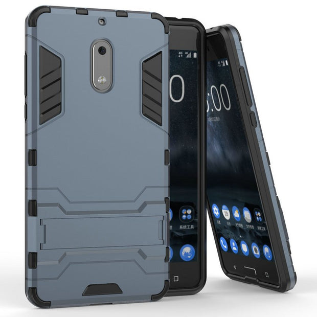 "3D Combo Armor Case For Nokia 6 Nokia6 2017 TA-1000 TA-1003 TA-1025 5.5"" Shockproof Phone Back Cover Case Fundas Coque"