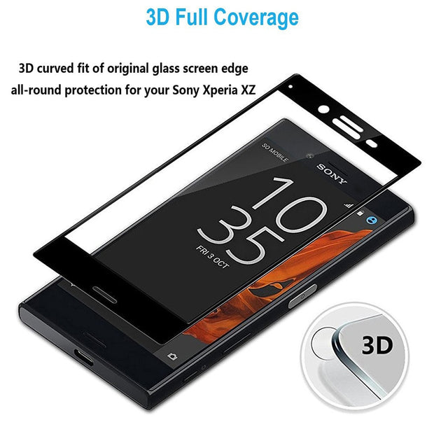 3D Curved Screen Protector Tempered Glass Case For Sony Xperia XA 2 XA1 Ultra Plus XZ S Premium X Compact F3113 F3115 Cover Film
