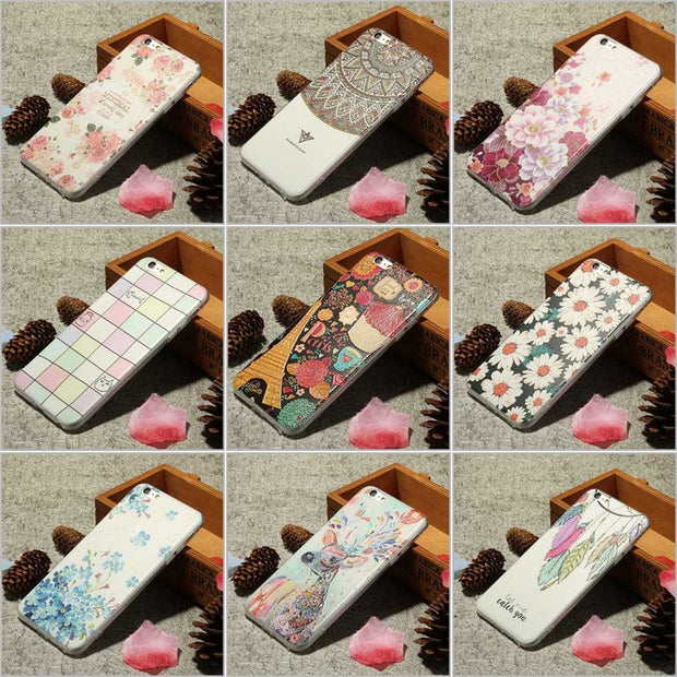 3D Cute Embossed Cartoon Flowers Floral Plastic Hard Phone Cases For IPhone 6 Back Cover Coque Funda Case For Iphone 6S 7 Plus