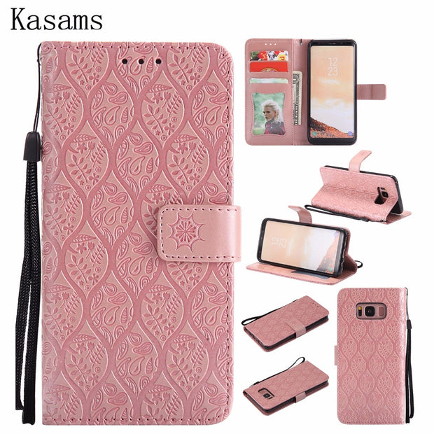 3D Emboss For Samsung Galaxy S8 Plus S8+ SM-G955 Phone Shell For Samsung S8 SM-G950 PU Leather Mobile Case Flip Stand Cover