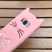 3D Glitter Cute Rubber Case For Samsung Galaxy S8 S9 PLUS S7EDGE Note 8 Soft Silicon Cartoon Cats Cover For Samsung A8 2018 Plus