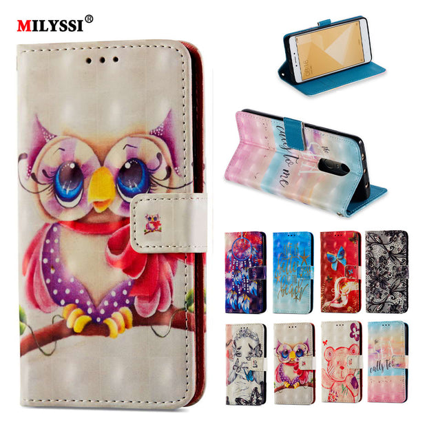 3D Painted Luxury Flip Wallet Case For Xiaomi Redmi Note 4X Book Flip Style High Quality Mobile Phone Cases For Redmi Note 4X