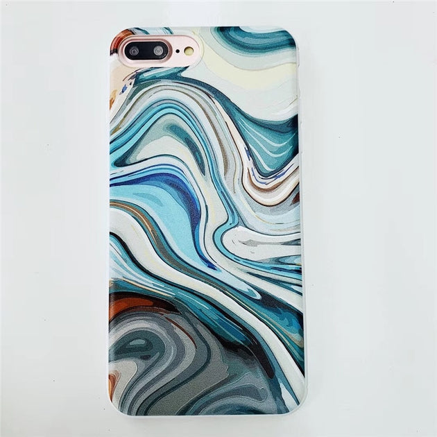 Blue Marble Granite Silicone iPhone XS