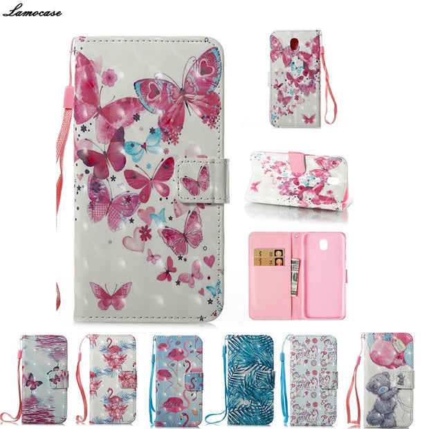 3D Pattern Case For Samsung Galaxy J7 2017 J730 J730F SM-J730F Cute  Flamingo Unicorn Flip Leather Wallet Cover Card Holder Stand