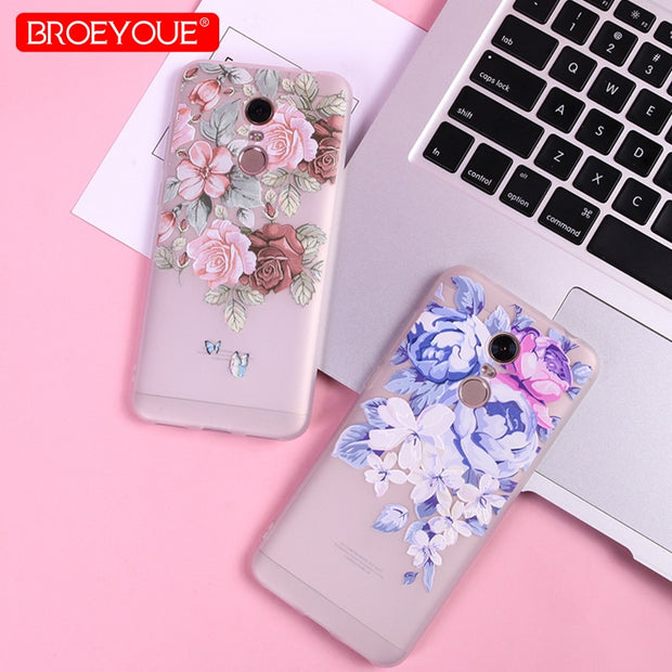 3D Relief Case For Xiaomi Redmi 5 Plus Redmi 4X 4A 5A Note 4X Note 5A Pro Cover For Xiaomi 8 SE 5X Mi A1 Silicone Floral Case