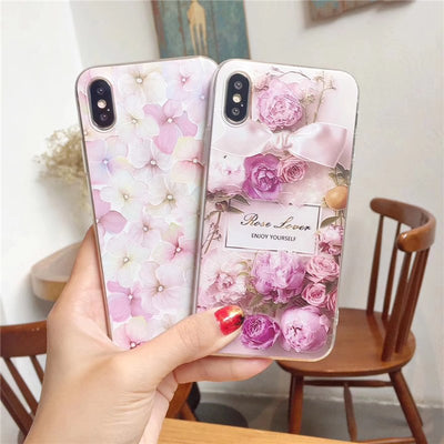 3D Relief Flower Case For IPhone 8 Plus IPhone 6 Case Sexy Girly Soft Silicon Peony Cover For IPhone 7 IPhone X 6S Case Funda