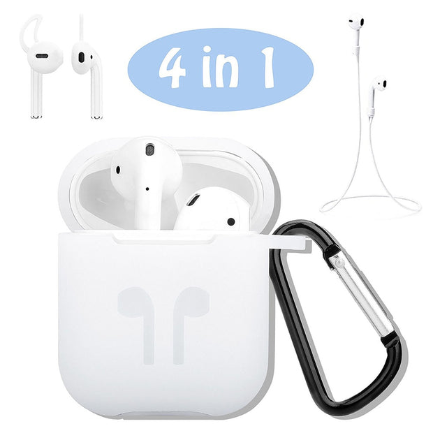 4In1 Silicone Shockproof Charging Case Storage Pouch Box+Headphone Strap+Ear Cover Hooks+Carabiner For Apple AirPods For Earpods