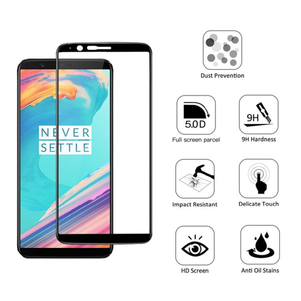5D Case Full Cover Screen Protector For Oneplus 5T 5 Premium 5D Curved Edge Tempered Glass For Oneplus 1+ 5T 5 Protect Film Case