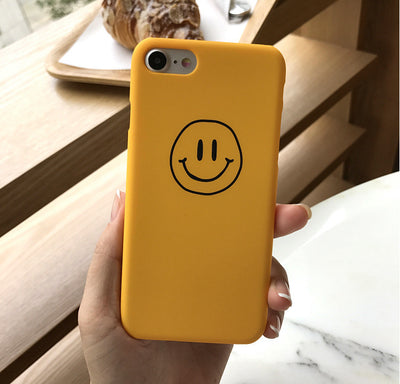 AIBOR Cute Pattern Smiley Face Emoticon Phone Case For IPhone 5 5S Se 6 6S 7 8 Plus Frosted Matte Plastic Back Cover Funny Smile