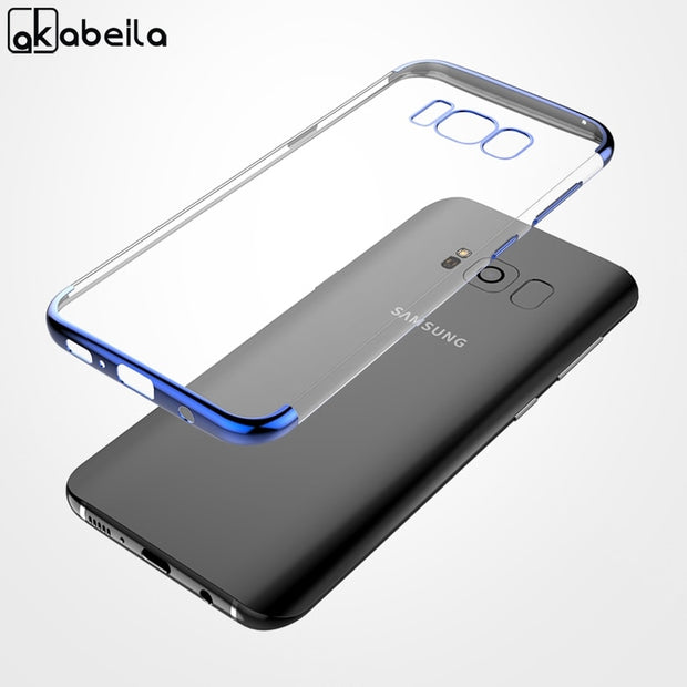 AKABEILA Case For Samsung Galaxy S8 Plus Cases Plated Shining Silicone Cover For Samsung S8 Plus Covers G955F G955FD Fundas