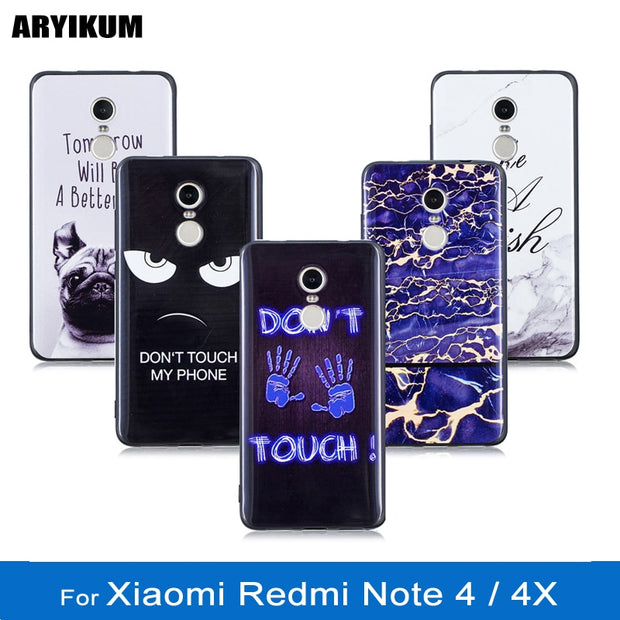 ARYIKUM Animal Dog Case For Xiaomi Redmi Note 4x / Note 4 Blue Silicone Marble Case Cover For Xaomi Xiami Xiomi Redmi Note 4 X