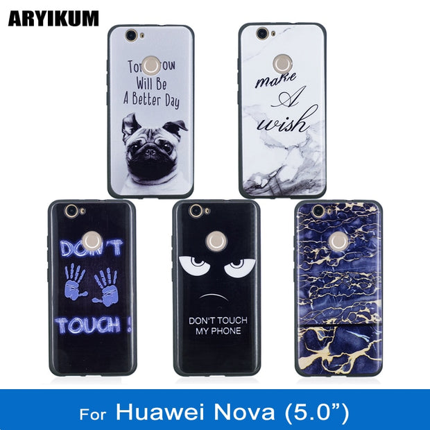 ARYIKUM Animal Dog Phone Cases For Huawei Nova 4g Can-L11 Can-L01 Case Marble Black TPU Silicone Cover For Nova Huawei Coque