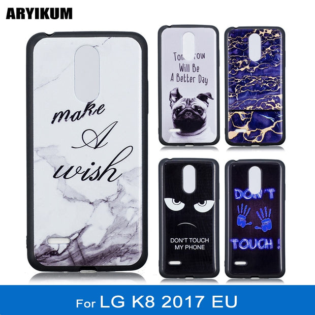 ARYIKUM Cartoon Dog Phone Cases For Etui LG K8 2017 EU Silicone Marble Back Cover Coque For LG K82017 LG K8 2017 Dual Funda Capa